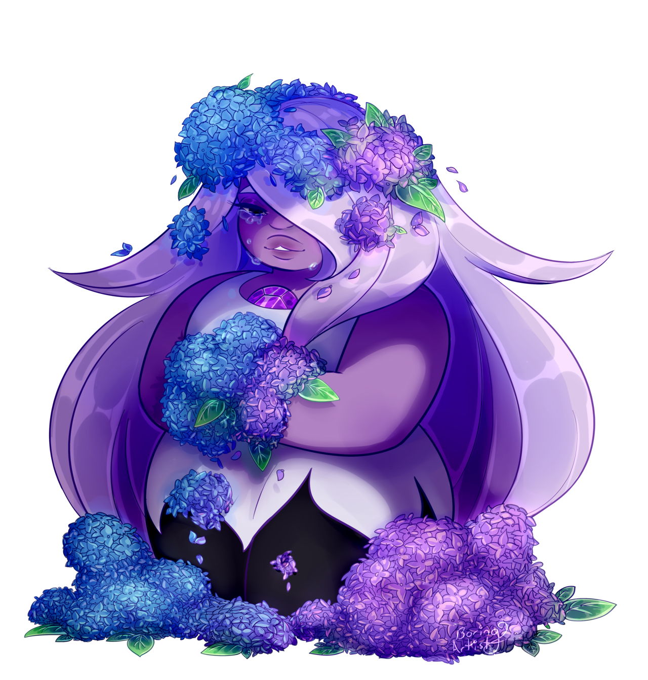 Amethyst and hydrangeas, sounds good right?