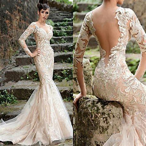 Sexy Mermaid Wedding Dress Backless Long Sleeve Lace