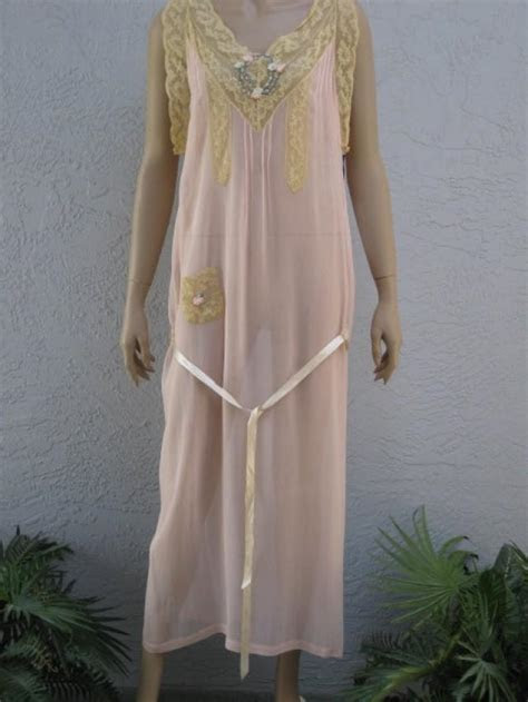 Vintage 1920's Apricot Silk Chiffon Nightgown With Ribbon