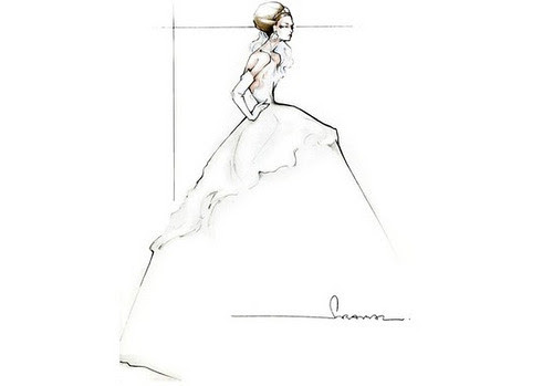 Wedding Dress Sketches - by Prabal Gurung Vogue Fashion for Kate Middleton
