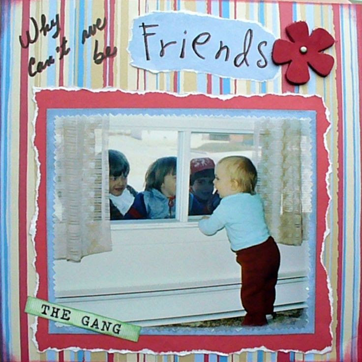 """Why can't we be friends"". This is a layout I made for my son's album. It was fun seeing him call the kids outdoor.  For the October Challenge at Lasting Memories (http://kcclayoutchallenges.blogspot.ca/2014/10/lm-211-beautiful-friendship.html)"