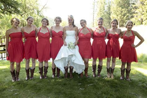 Country Wedding in Montana   Red Bridesmaid Dresses