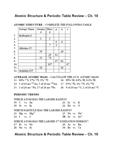 26 THE PERIODIC TABLE REVIEW WORKSHEET, REVIEW TABLE ...