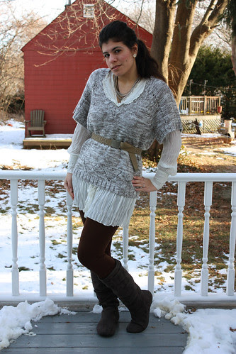 Grey sweater, lace trimed tunic, brown leggings