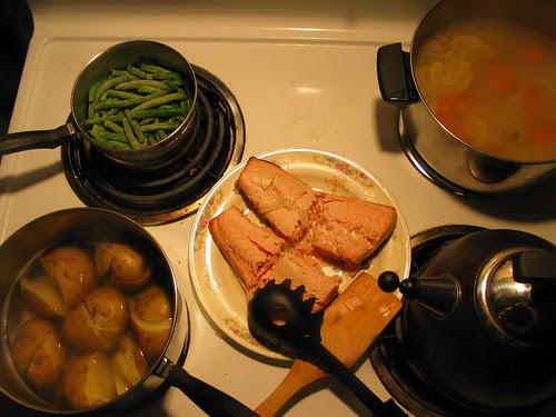 Poached salmon, yukons, & green beans