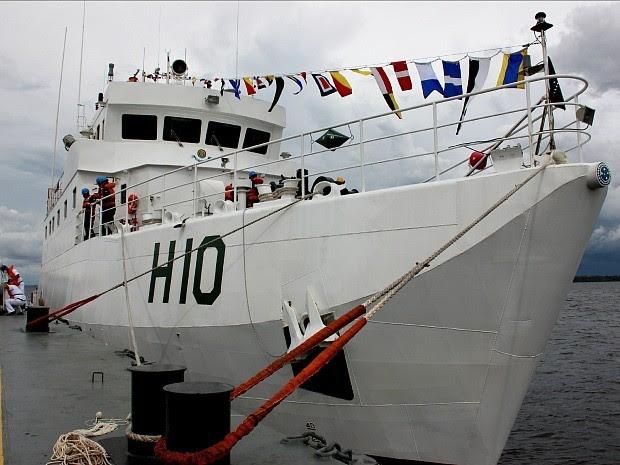 Navio Hidroceanográfico Fluvial (NHoFlu) será usado na Amazônia (Foto: Diego Toledano/G1 AM)