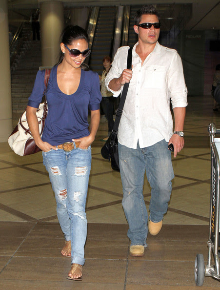Nick Lachey Celebrity couple Nick Lachey and Vanessa Minnillo arriving on a flight at LAX airport in Los Angeles, CA. The couple was in Kentucky to watch the 137th Kentucky Derby Horse Race.