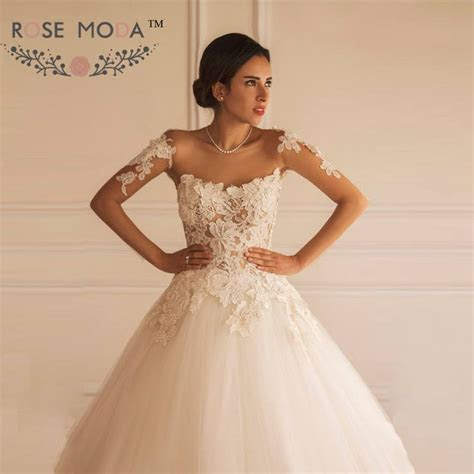 Elegant Long Sheer Sleeves Lace Ball Gown See Through Back