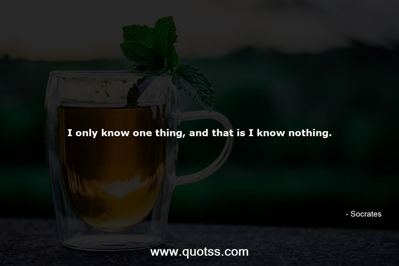 I Only Know One Thing And That Is I Know Nothing Socrates