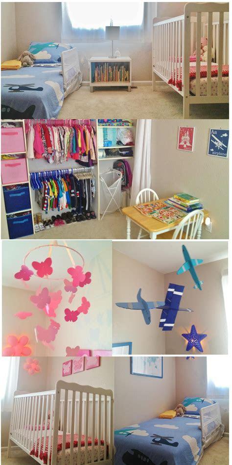 shared toddler boy  baby girl room shared closet pink