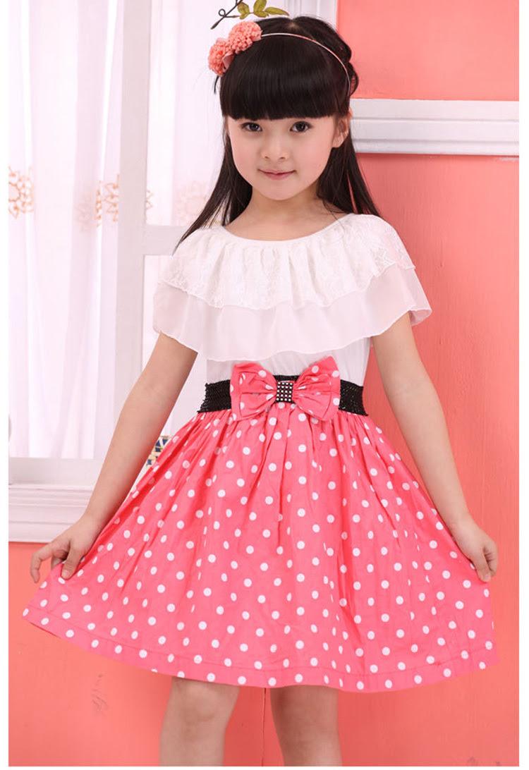 2015 New Crew Collar Dot Print Kids Casual Dresses for Girl Summer Short Sleeve Bow Children