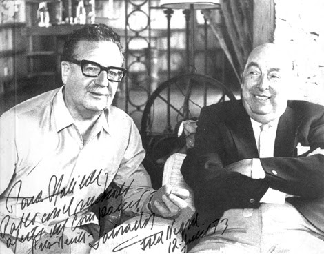 El presidente Salvador Allende y el poeta Pablo Neruda.