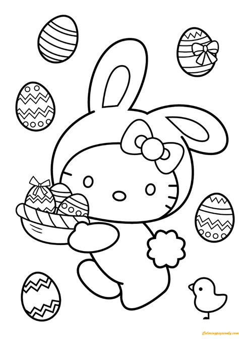 kitty easter bunny coloring page  coloring
