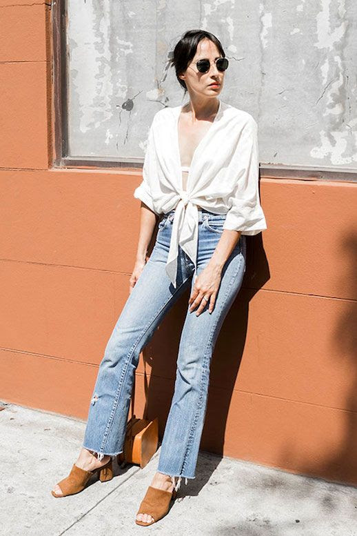 Le Fashion Blog Bohemiam Blogger Style Round Sunglasses White Tie Front Top High Waisted Vintage Raw Hem Jeans Brown Suede Mules Via Elizabeth Suzann