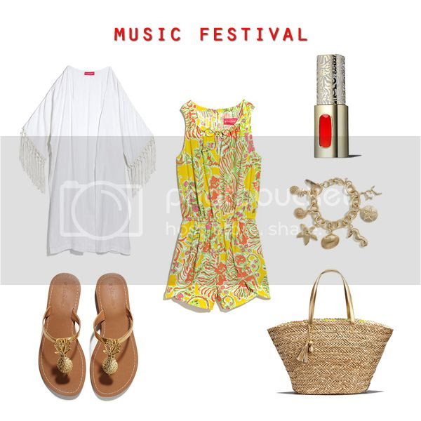 Lilly for Target lookbook preview, Lilly Pulitzer for Target casual romper music festival outfit idea