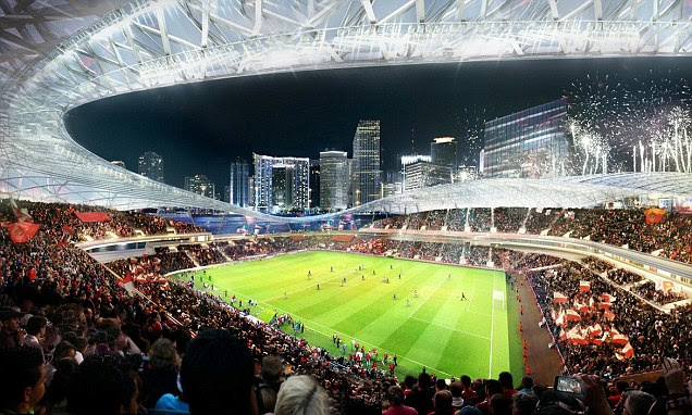 Things to come? The first designs for  David Beckham's planned stadium for his MLS side have been revealed