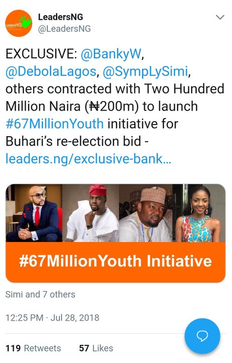 """Buhari's Re-Election: Banky W, Simi, Debola Lagos Contracted With ₦200M"""