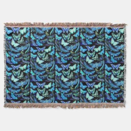 Spooky Blue Black Butterfly Moth Throw Blanket