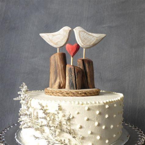 Rustic Beach Wedding Cake Topper, Wood Love Birds Topper