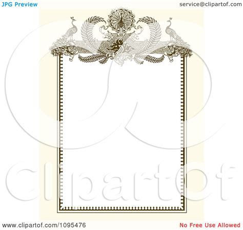 Clipart Vintage Biege And White Ornamental Peacock Wedding
