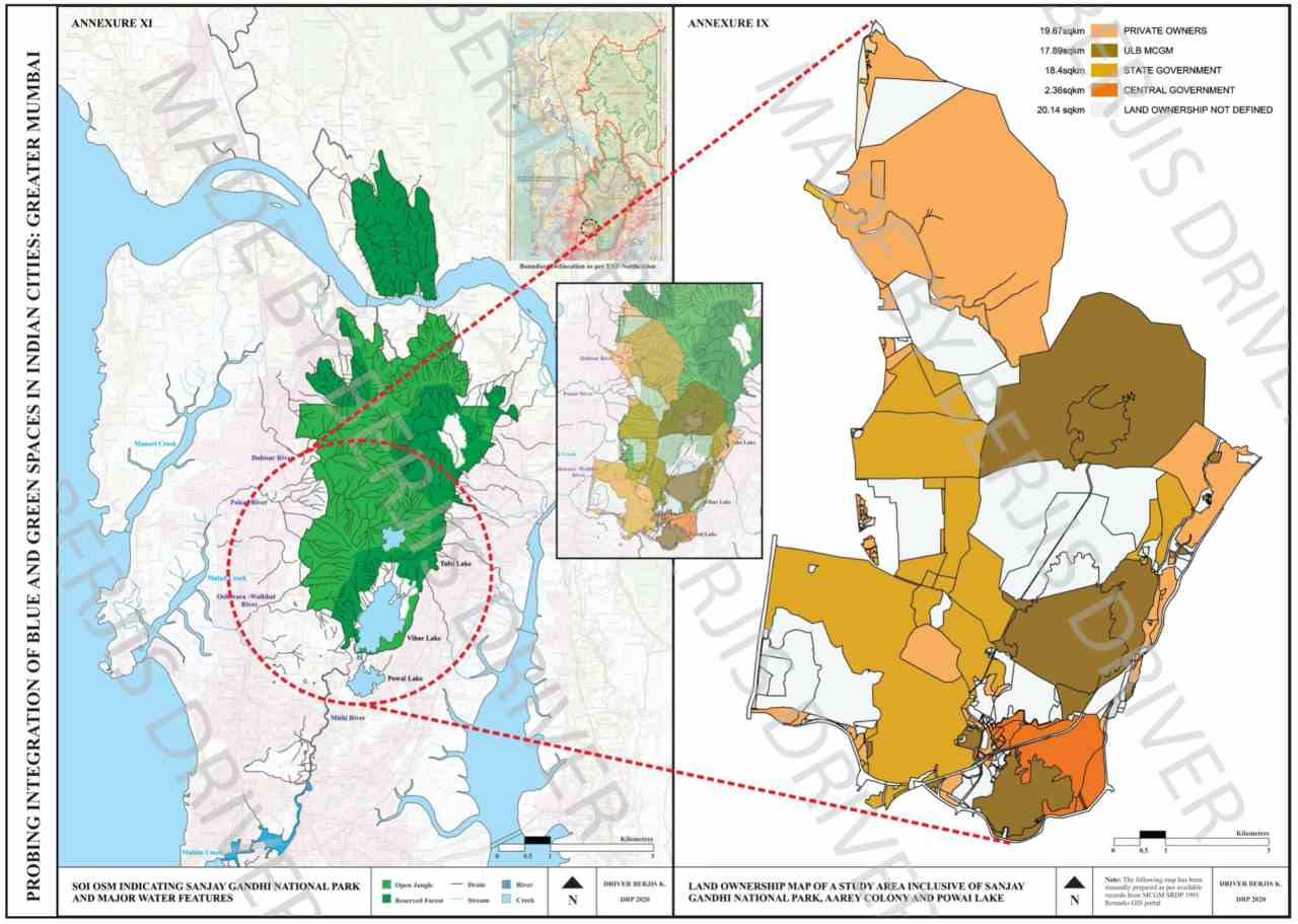 Image: Overlap of an SOI OSM raster and the Land Ownership Map of the examined study area, inclusive of Sanjay Gandhi National Park, Aarey Colony and Powai Lake within the SDP 2034 extents. Image: Author provided
