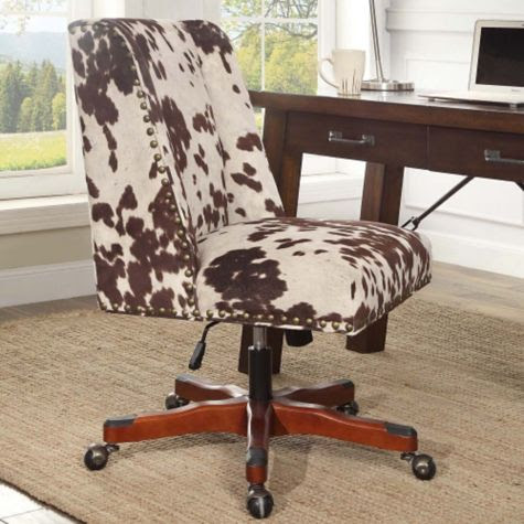 Draper Cow Print Armless Chair with Wood Base