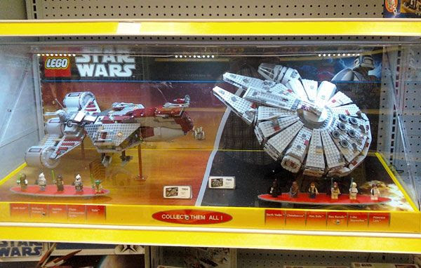 Republic Cruiser (from THE PHANTOM MENACE) and Millennium Falcon LEGO® sets at the local Toys'R'Us store.
