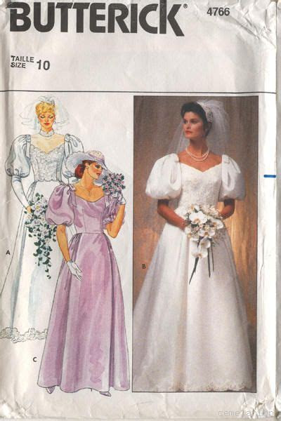 Butterick 4766 Vintage 80s Wedding Dress Pattern B32.5
