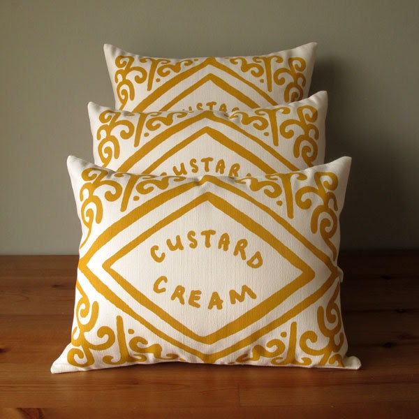 Custard Cream Printed Cushion
