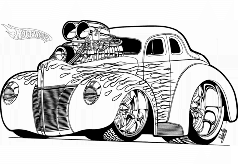 Hot Wheels Hot Rod Coloring Page Free Printable Coloring Pages