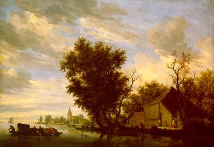Fluss mit Fähre, 1650