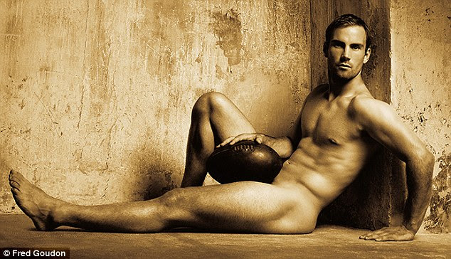 Clermont scrum-half Morgan Parra, 27, proudly reclines with only a strategically-placed ball in a statuesque pose for the camera. Fred said in a statement he was 'honouring the male body in all its athletic glory'