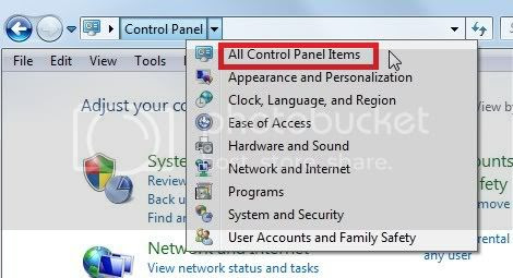 All Control Panel Items