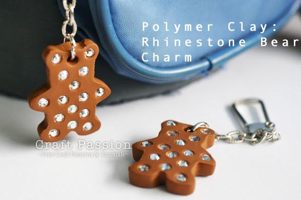 Rhinstone Bear Charm Keychain