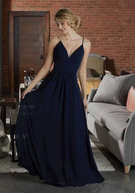 Simple Chiffon Bridesmaid Dress Featuring a Deep V