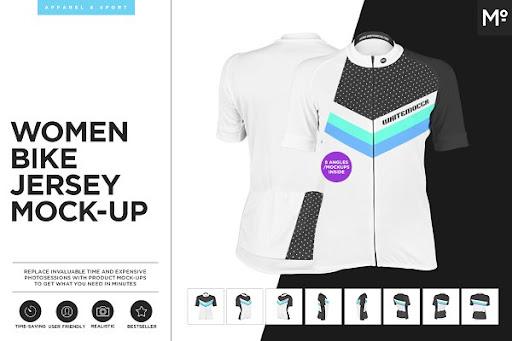 Download Women Bike Jersey Mock-up PSD Mockup