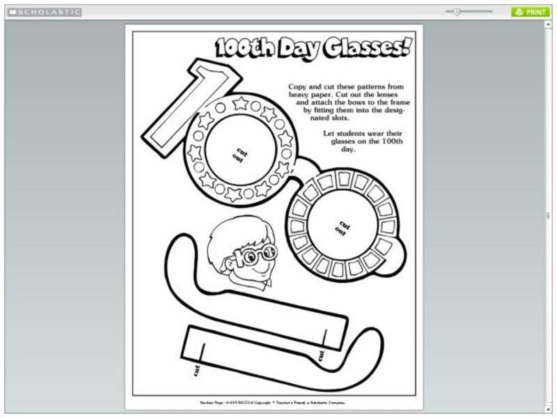 100th Day Glasses! Pre-K - 5th Grade Printables & Template ...