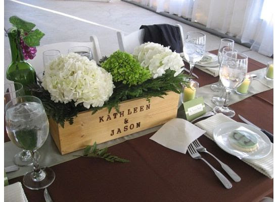 Mrs Vino Wine Box Centerpiece :  wedding centerpieces winery wood diy hydrangea Caitlin Center