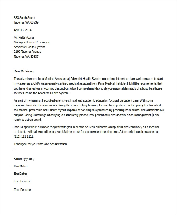 Sample Medical Assistant Cover Letter 8 Examples In