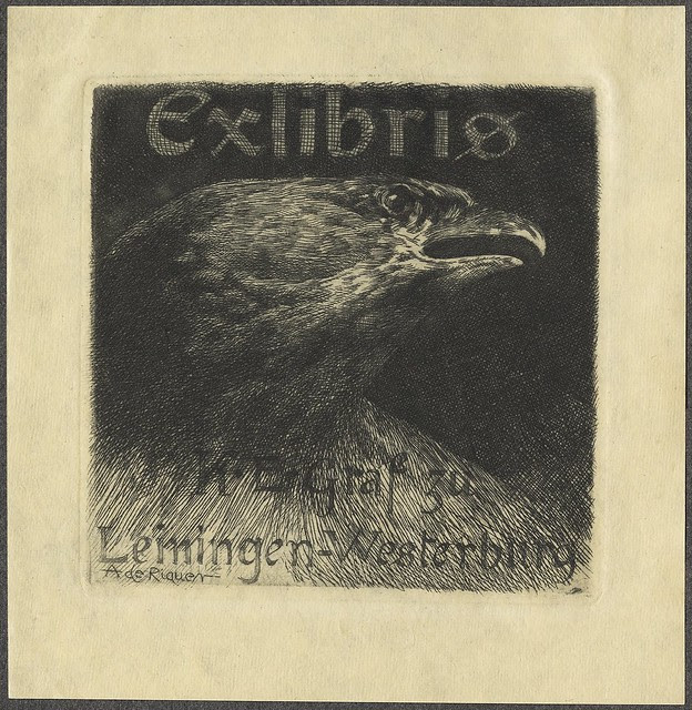 dark, square-shaped ex libris illustration dominated by eagle head