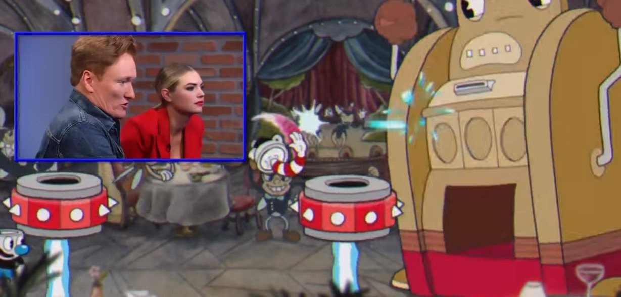 Of all games, Conan O'Brien plays Cuphead with Kate Upton screenshot