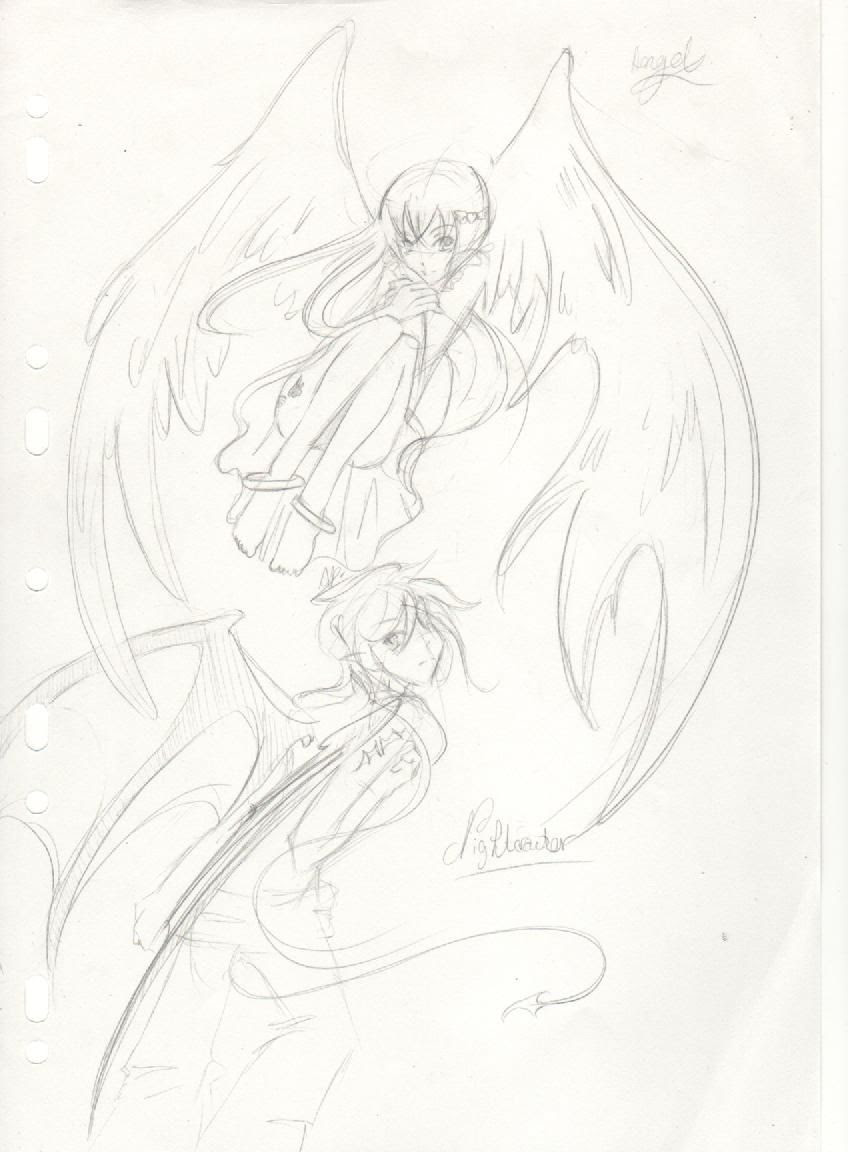 Dessin Manga Fille Ange Et Demon Dessin De Manga