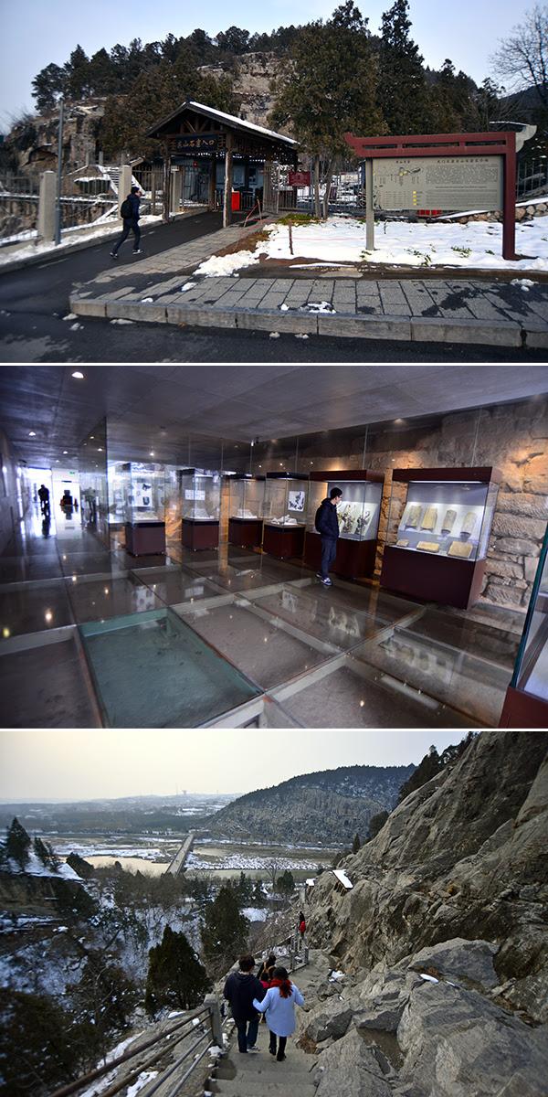 동산석굴의 입구(상) 석굴 내 전시관(중) 동산석굴 정상에서 바라본 풍경(하).