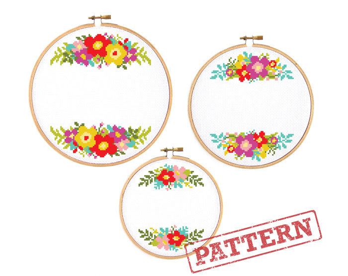 Cross Stitch Pattern Pdfs Floral Ornament Borders Set Of 3 The