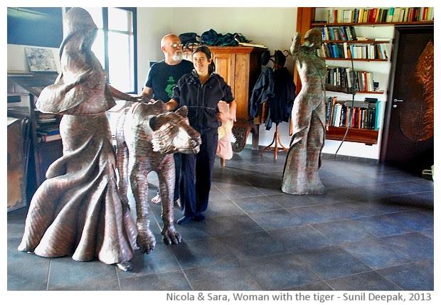 Nicola Zamboni, Sara Bolzani and the woman with the tiger - images by Sunil Deepak, 2013