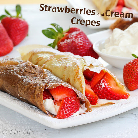 Strawberries and Creme Crepes on a plate, chocolate and vanilla crepes