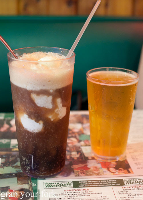 root beer float and beer at green mesquite bbq austin texas