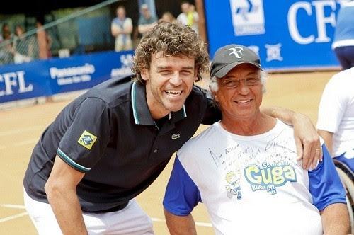 Gustavo Kuerten e Morais durante a Semana Guga de 2012, em Florianópolis