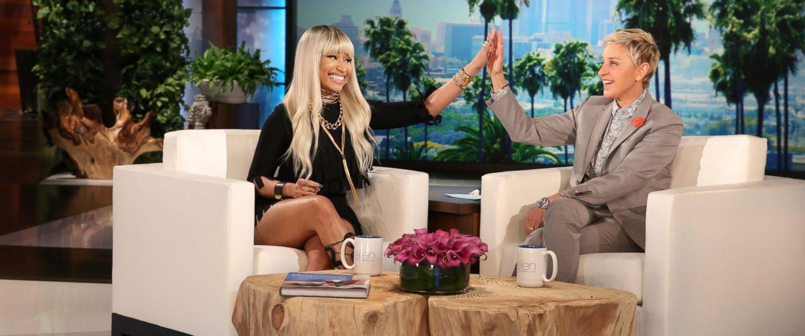 "PHOTO: Nicki Minaj appears on the ""The Ellen DeGeneres Show,"" April 7, 2016."