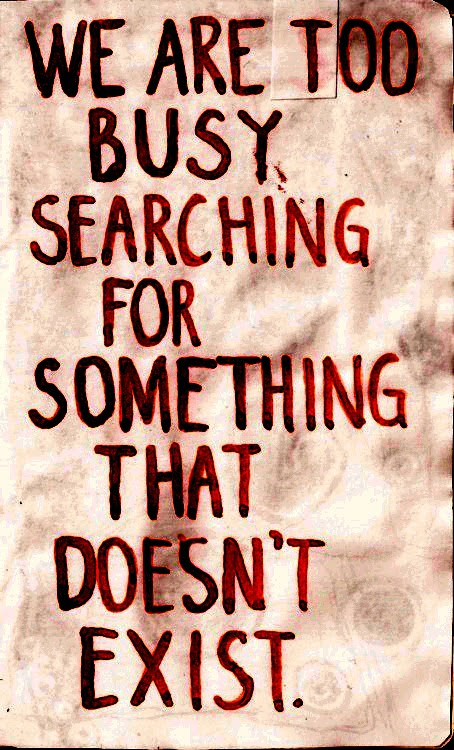 We Are Too Busy Searching For Something That Doesnt Exist